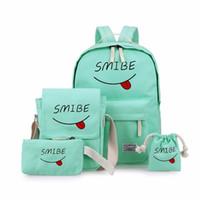 conjunto de saco escola coreana venda por atacado-Novo 5 pçs / set Versão Coreana Smiley Expressão Mochilas Bolsa de Lona Para Meninas Adolescentes Mulheres Casuais Ombro Saco de Viagem
