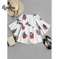 38ef3343f5c 20187 AZULINA Off Shoulder Floral Flare Sleeves Romper 2018 Summer Women  Boho Beach Playsuit Loose Sweet Short Jumpsuit Girls Clothes