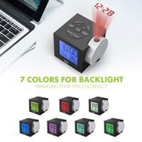 lcd masa saati toptan satış-LCD Projeksiyon Çalar Saat Arka Elektronik Elektronik Projektör İzle Danışma Sıcaklık Göstergesi ile 7 Renk
