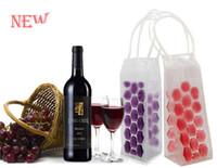Wholesale ice bag wine chiller - Environmental Food Grade PVC Beverages Beer Cooler Bags Portable Double Side Ice Wine Cooler Chillers Frozen Bag