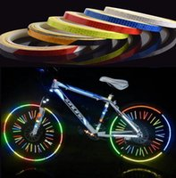 Wholesale Sticker Security - Reflective Stickers Bike sticker Motorcycle Bicycle Reflector Bike Cycling Security Wheel Rim Decal Tape Safer bisiklet aksesuar