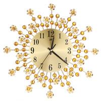 современные металлы оптовых-Beautiful Large Wall Clock Flower Art Metal Modern Luxury Diamond Indoor Home Living Room Sep29