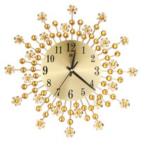 Wholesale flowers wall clock - Beautiful Large Wall Clock Flower Art Metal Modern Luxury Diamond Indoor Home Living Room Sep29