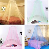 Wholesale Canopy Homes - Elegant Round Lace Mosquito Net Bed Netting Canopy Netting Curtain Dome Mosquito Net Home Room EEA458 100PCS