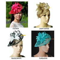 1ceebeeba75 Wholesale white sinamay church hats for sale - New Arrival polka dot  feather sinamay bridal fascinator