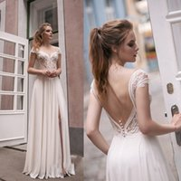 Wholesale 3d Designers Cheap - Modest Designer Scoop Top Illusion Lace Cheap Wedding Dresses Floor Length Chiffon Front Slit Summer Beach Berta Bridal Gown Backless Sleeve