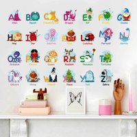 Wholesale Early English - Puzzle Early Education Paste 26 English Alphabet Wall Stickers For Kids Rooms Cartoon Animals Art Wall Background Decal