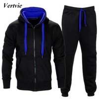 Wholesale Orange Fleece Jacket Wholesale - Vertvie 2PCs Set Running Sets Men Thick Fleece Hooded Zipper Jackets Sport Pants Suit Men's Hiking Tracksuits Plus Size New 2018