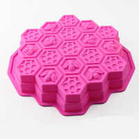 Wholesale cupcake shaped cake resale online - Eco Friendly Super Soft Cupcake Cookies Candy Mold Silicone Material Honeycomb Honeybee Shape Moulds For Kitchen Baking bd Z