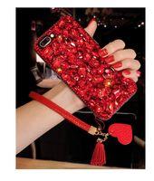 iphone shell diamond red al por mayor-Bling Glitter Crystal Diamond Contraportada Red Love Heart Colgante Borla Pulsera de cuero Rhinestone Phone Shell para iPhone Samsung Huawei