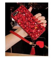 ingrosso rosso diamante di shell iphone-Bling Glitter Crystal Diamond Cover posteriore Red Love Heart Pendant Bracciale in pelle nappa Strass Phone Shell per iPhone Samsung Huawei
