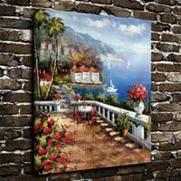 ölgemälde schloss landschaft großhandel-Gerahmte Moderne Giclée-Druck Kunst Seaside Castle Landschaft Ölgemälde Leinwand Wand Wohnkultur Gemälde Bild für Wohnzimmer Dekor