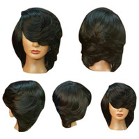 Wholesale short side wigs online - Short Side Bang Straight Flip Feathered Bob Synthetic Wig Natural Black Wigs Women Natural Short Straight Synthetic Wigs For Women