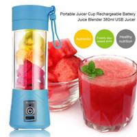 Wholesale Rechargeable Blender - New Fashion 380ml USB Rechargeable Juicer Bottle Juice Citrus Blender Lemon vegetables fruit Milkshake Smoothie Squeezers Reamers Bottle
