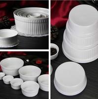 Wholesale mousse cups resale online - Cake baking cups large white ceramic cake baking mold mousse cup yogurt pudding dessert bowl Cupcake I424