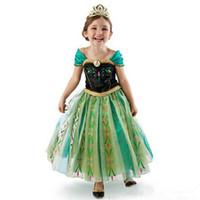 kraliçe kız kostümü toptan satış-Kız Elbise Karikatür Cosplay Kar Kraliçe Prenses Elbiseler Elbiseler Anna Kostüm Bebek Çocuk Giysileri Çocuk Giyim Cadılar Bayramı