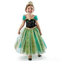 fantasia rainha venda por atacado-Meninas Vestido Dos Desenhos Animados Cosplay Snow Queen Princesa Vestidos Vestidos Anna Traje Do Bebê Crianças Roupas Infantis Roupas Halloween
