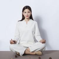ingrosso gli yoga vestono all'ingrosso-Le nuove donne fitness indossare tuta sport all'aperto in lino di cotone Yoga abiti Tai chi abbigliamento all'ingrosso