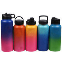 Wholesale Color Kettle - 32oz Color Gradient Vacuum Water Bottles Insulated Stainless steel Water Bottle Travel Coffee Mug Cup Wide Mouth Flip Cap Cups HH7-1160