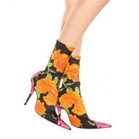 calcanhar venda por atacado-Mulheres Tecido Floral Stretch Meias Botas Apontou Toe Mid-Calf Mulheres Botas de Design Da Marca de Salto Alto Mulheres Botas 44 Tamanho