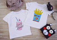 Wholesale French Style Clothes - Kids T-shirt boys french fries printed T-shirts kids summer short sleeve clothes girls t shirts children clothing