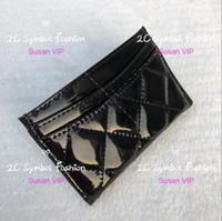 kartlı kimlik kartları toptan satış-Parlak siyah Lüks desen Moda marka Mini Cüzdan KIMLIK kartı tutucu ile Moda namecards storege çanta sayacı hediye plastik toz torbası