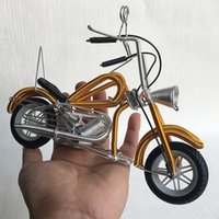 Wholesale motorcycle gift metal - Originality Gift Toy Children Toys Manual Aluminum Wire Cool Motorcycle Modeling Metal Home Ornament Special Tourist Souvenirs 14wx W