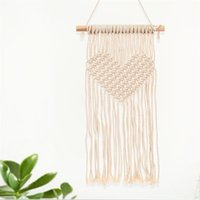 Wholesale handmade tapestries - Bohemian Macrame Woven Tapestry Wall Hanging Handmade Knitting Heart Tapestries Wedding Decoration Craft Gifts 21 5cm C R