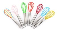Wholesale hands free stirrer for sale - Group buy DLM2 Ship Free Wire Whisk Stirrer Mixer Hand Egg Beater COLOR SILICONE EGG WHISK STAINLESS STEEL HANDLE quot wn041