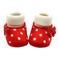 botas rojas de niña al por mayor-Bebé recién nacido Bowknot Fleece Botas de nieve Botines White Princess Shoes Pink Purple Red S2