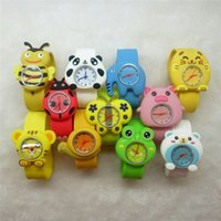 Wholesale flower frogs - New Cartoon Slap watches Flower Monkey Ribbit Frog Kid Wristwatch Silicone band Cute Cartoon Snap Slap Silicone student watch