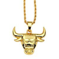 ingrosso catene di tori-Moda placcato oro catena Taurus Ciondoli testa di toro Collana lunga catena maglione animale Hip Hop Club Party gioielli