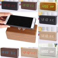 reloj despertador cargador inalámbrico al por mayor-Cargador inalámbrico reloj de alarma de madera Cubo de madera LED Reloj despertador Termómetro Temporizador Calendario carga inalámbrica para Smartphone USB 5V