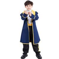 besta de beleza cosplay venda por atacado-Umorden Trajes de Halloween Príncipe Traje Meninos Beleza e Besta Adão Cosplay para Crianças Dos Miúdos Do Partido Do Carnaval Fantasia Terno