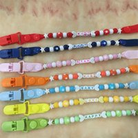 Wholesale plastic strap clip - Toddler Baby Pacifier Clip Chain Holder Soother Nipple Strap With Words BABY or KISS Nipple Feeding Supplies