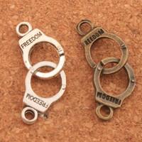 bronz mücevher bağlantıları toptan satış-200 adet / grup Kelepçe Özgürlük Bağlayıcı Spacer Charm Boncuk Antik Gümüş / Bronz Kolye Alaşım El Yapımı Takı DIY L243 31.7x10.2mm