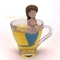 infusor de té de regalo al por mayor-Silicona Bebé Mermaid Tea Infuser Tea Leaf Colador Loose Herbal Filtro de Especias Difusor Café Tea Party regalo 3 Estilo