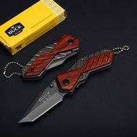 Wholesale Buck Pocket - EDC Folding Pocket Keychain Knife Buck X59 Little Knife 5CR13MOV Blade Tanto Point Small Folder Camping Knives D749Q