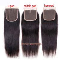 Wholesale Free Hair Bleach - 100% Human Hair Straight Closure Brazilian Hair Lace Closure 4x4 Closure Natural Color With Bleached Knots