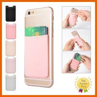 titular de la tarjeta de identificación de metal al por mayor-Lycra Cartera para teléfono móvil Titular de la tarjeta de identificación de crédito Etiqueta adhesiva de bolsillo para iPhone 5 6 6s 7 Plus Samsung