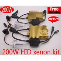 xenon far konvertör kitleri toptan satış-YENI 200 W HID xenon kiti Far dönüşüm Kiti Ampuller Lambaları Beyaz H1 H4 H7 H11 6000 K