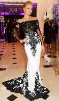 vestido longo preto chiffon para festas venda por atacado-Sexy branco e preto vestidos de baile vestido de festa longo 2018 manga comprida Appliqued vestido de festa à noite