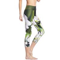 seksi yoga pantolonları toptan satış-Seksi Yoga Pantolon Yasemin Baskılı Legging Spor Femme Yüksek Wiast Spor Capri Pantolon Koşu 3D Baskı Kırpılmış Pantolon Push Up Tayt