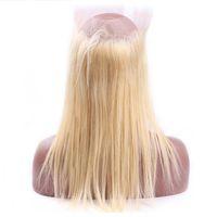 piezas de cabello humano rubio al por mayor-Recto 613 Blonde 360 Lace Frontal Only One Piece Frontal 22.5 * 4 * 2 pulgadas Brasileño Cabello humano Blonde 360 Lace Frontal con cabello de bebé