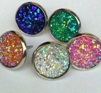 Wholesale Cheap Crystal Studs - 6pair lot cheap Nice handmade resin round druzy earrings trendy simple stainless plated wholesaling resin stone earring for lady
