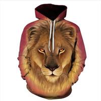 löwe könig kapuzenpulli sweatshirt großhandel-Mode Digital Print Lion King Herren Hoodie Blonde Legendäre Lion King 3D Print Lässige Hoodie Sweatshirt Pullover