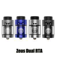 Wholesale double tank atomizer - 100% Original GeekVape Zeus Dual RTA Atomizer Double Chimney Top Airflow 4ml Tank With Bulb Glass 510 810 Drip Tip Authentic