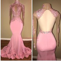 Wholesale Ivory Satin Flower Girl Dress - Pink African Black Girls Mermaid Prom Dresses Long High Jewel Neck Lace Applique Open Back Sequined Dresses Beads Formal Evening Party Gowns