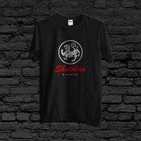 логотипы боевых искусств оптовых-Новый Shotokan каратэ сделать Тигр логотип боевое искусство мужская 2 стороны черная футболка 2018 новые мужчины горячая мода твердые Homme футболка