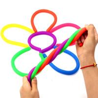 cuerda de juguetes para adultos al por mayor-Novedad Descompresión Medioambiental Rope Fidget Abreact Pegamento Flexible Cuerdas de Fideo Cuerdas Elásticas Eslingas de Neón Niños Juguetes Para Adultos WX9-372